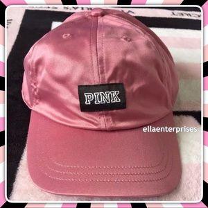 VS Pink Hat Begonia Black White Satin Baseball Cap